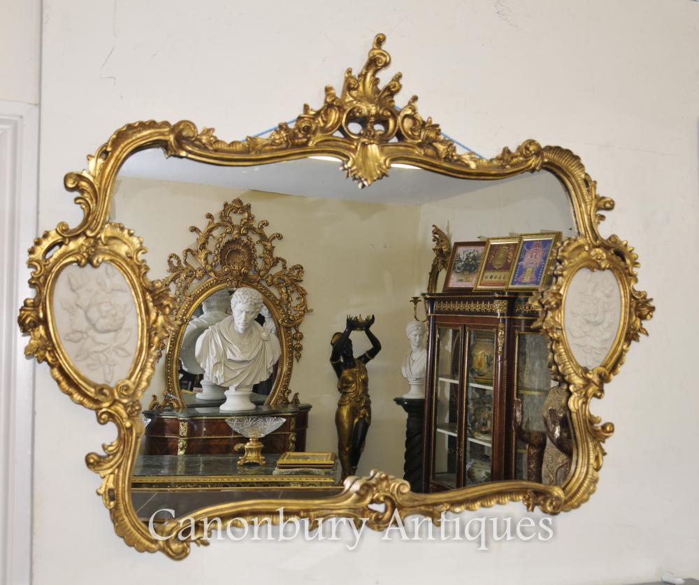 Französisch Louis XVI Gilt Mantel Spiegel Alabaster Plaques