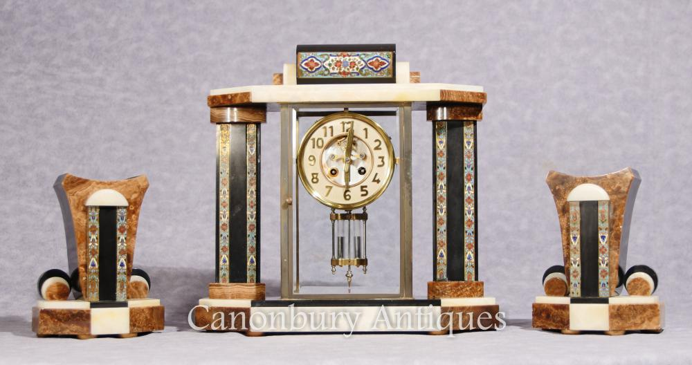 Französische Antik Art Deco Mantel Uhr Cloisonné Garniture Set