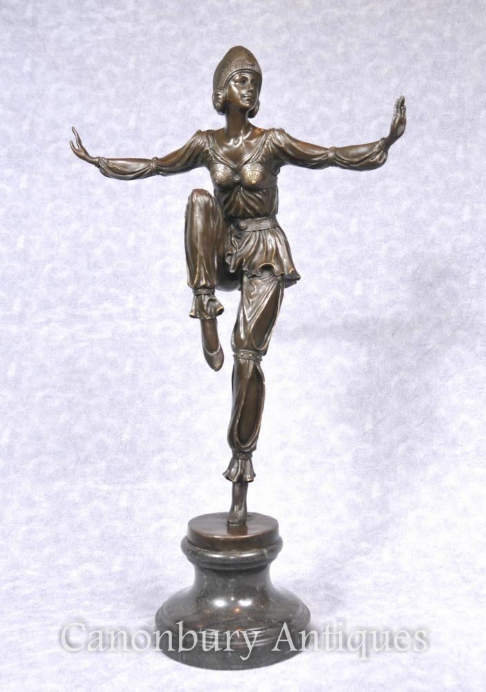 Französische Art Déco Bronze Ägyptische Tänzerin Flapper Figurine Statue