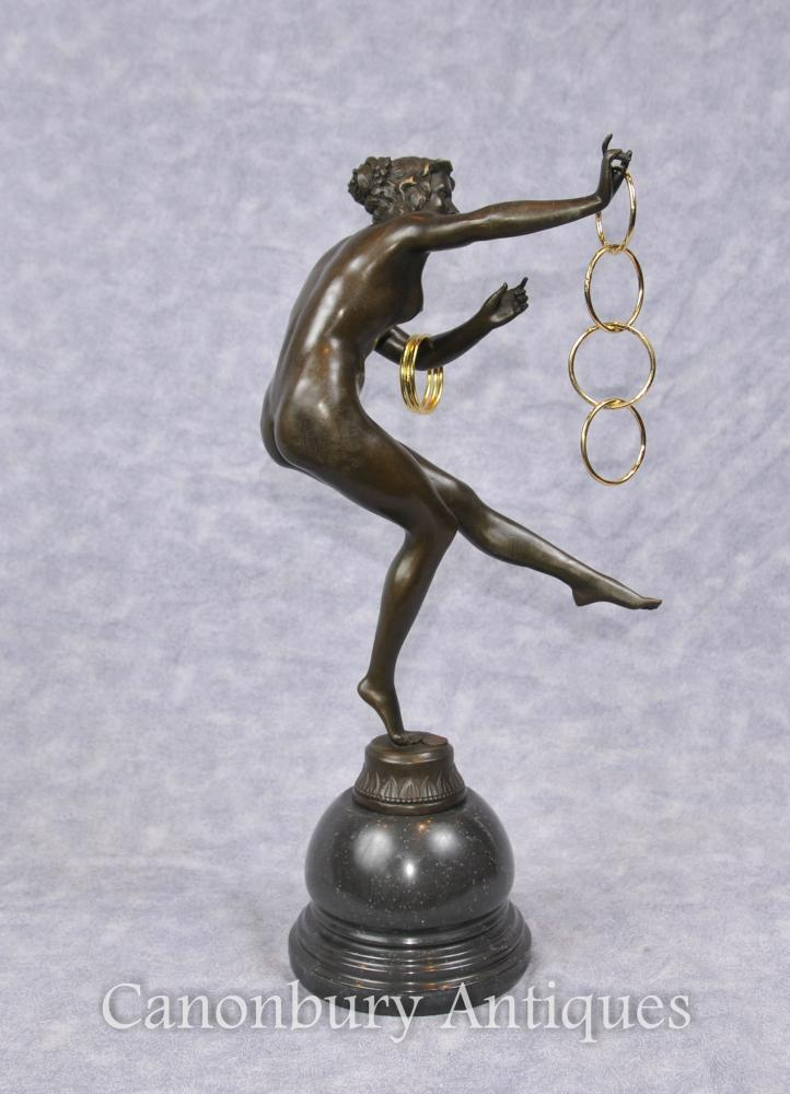 Französische Art Déco Bronze Hoop Dancer Statue Figurine Paris