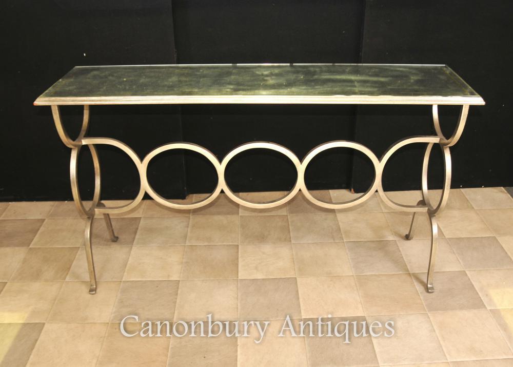 Französische Art-Deco Spiegelkonsolen-Tisch-Stahlbasis
