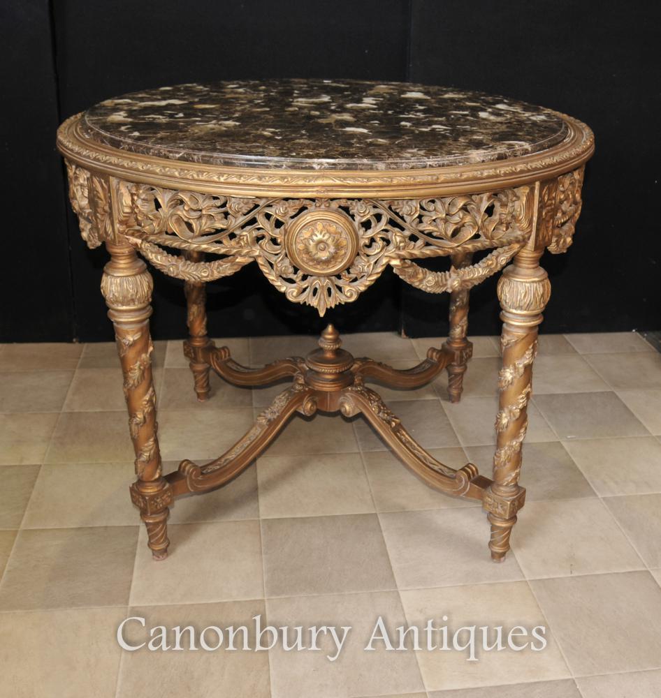 Französische Empire Gilt Carved Centre Tisch Esstische