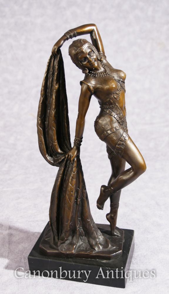 Französische Kunst Nouveau Bronze Tänzerin Signiert Leonard