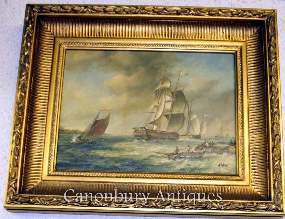 Französisches Ölgemälde Galleon Ölgemälde Maritime Seascape