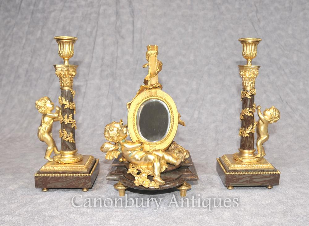 Französisches Reich Ormolu Cherub Kerzenständer Spiegelset Signiert Moreau