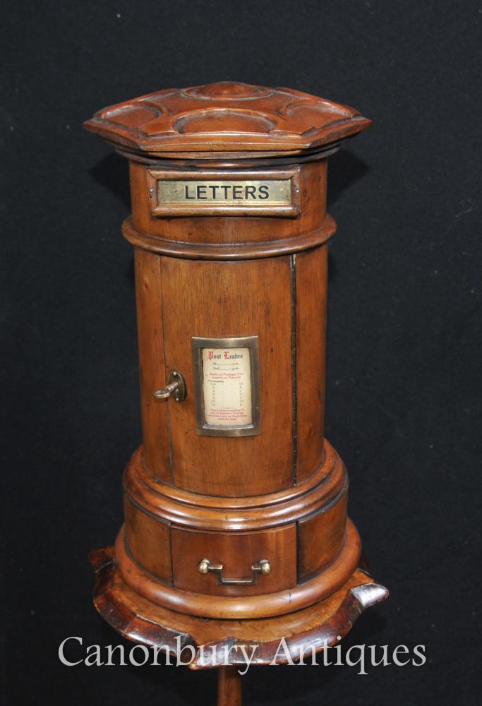 Geschnitzte Walnuss-englischer Pfosten-Kasten-Briefkasten-Kabinett