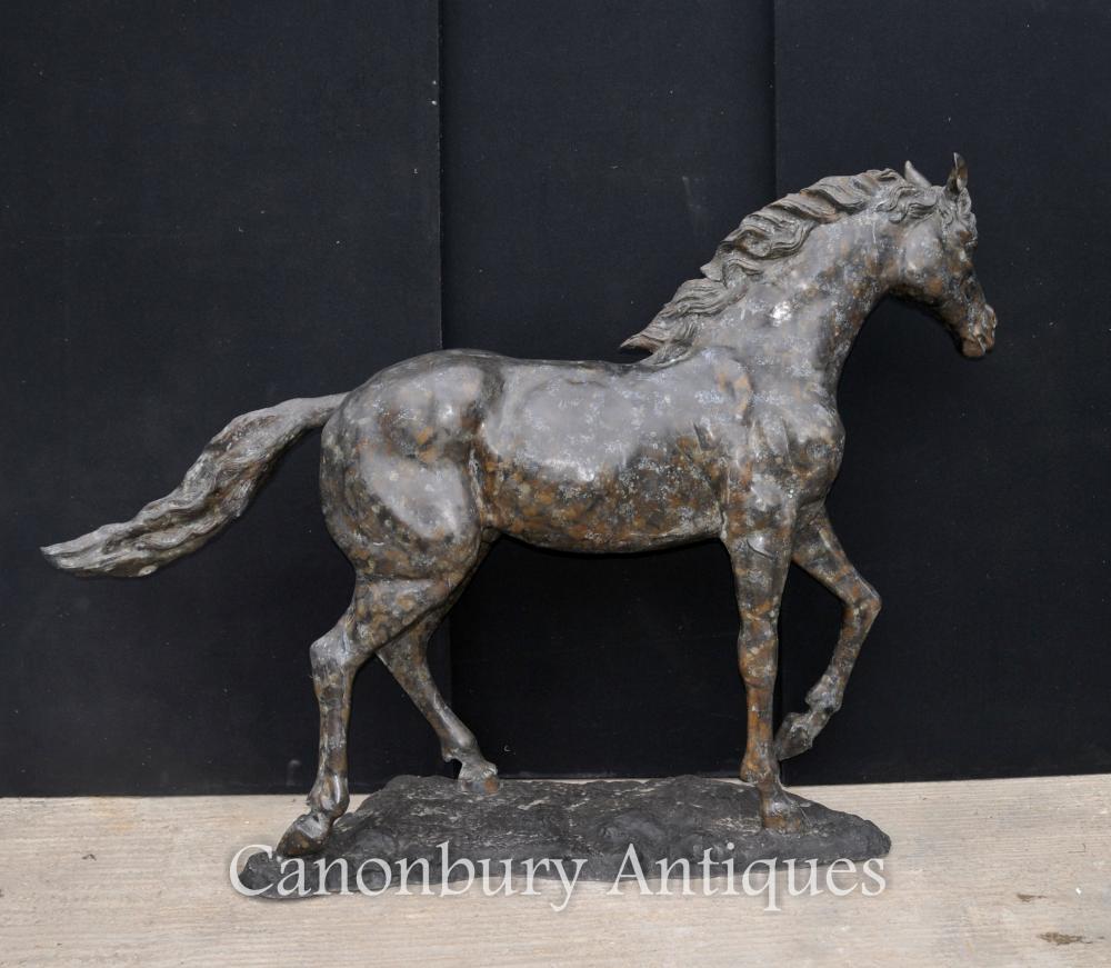 Große französische Bronze Pferd Pony Statue Casting Verdigris Colt