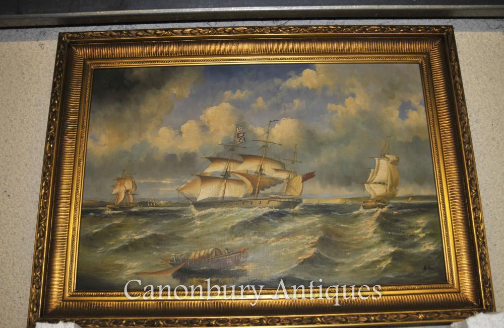 groses-franzosisches-reich-olgemalde-seascape-maritime-art