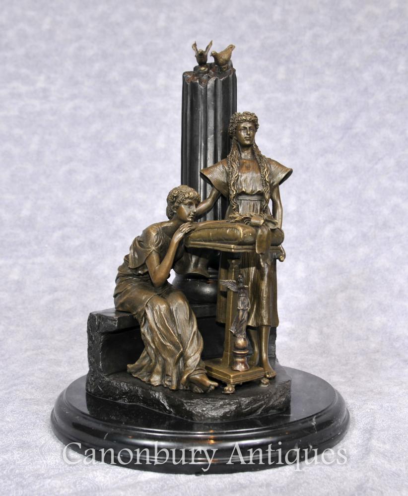 Italienische Bronze Klassische Maidens Statue Weibliche Figur Spalte