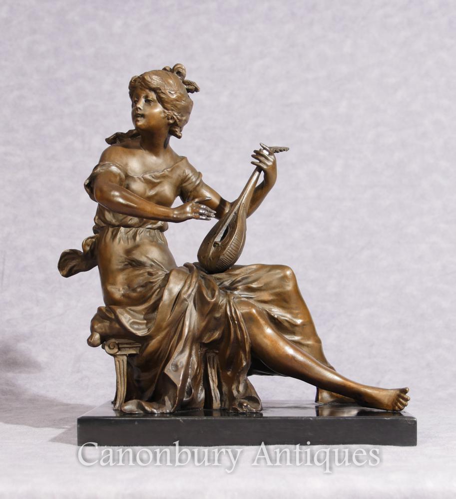 Klassische italienische Bronze Maid und Lyre Statue Figur signiert