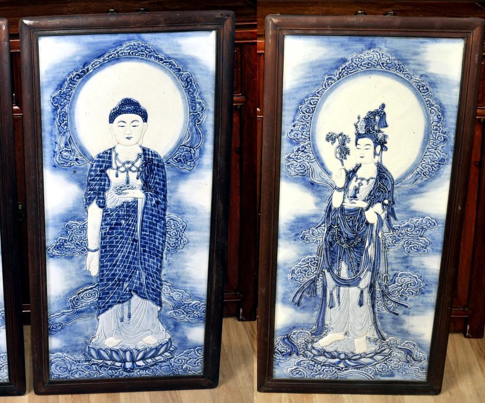 La parella xinesa de Nanquín porcellana blava i blanca plaques Home Buda femení