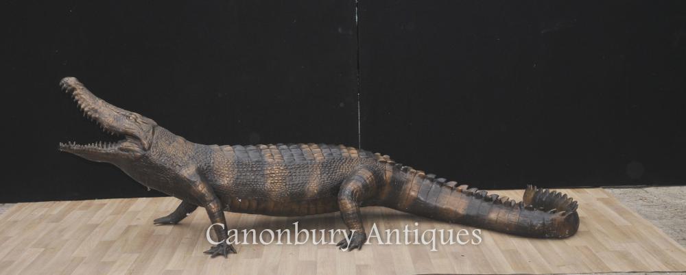 Lifesize Bronze Krokodil Bronze Guss-Alligator-Reptil