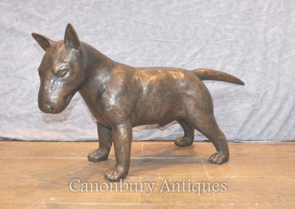 Lifesize Deutsch Bronze Bull Terrier Hund Statue Casting