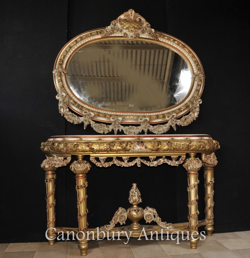 Louis XVI Gemalte Konsole Tisch und Spiegel Set Rococo Möbel