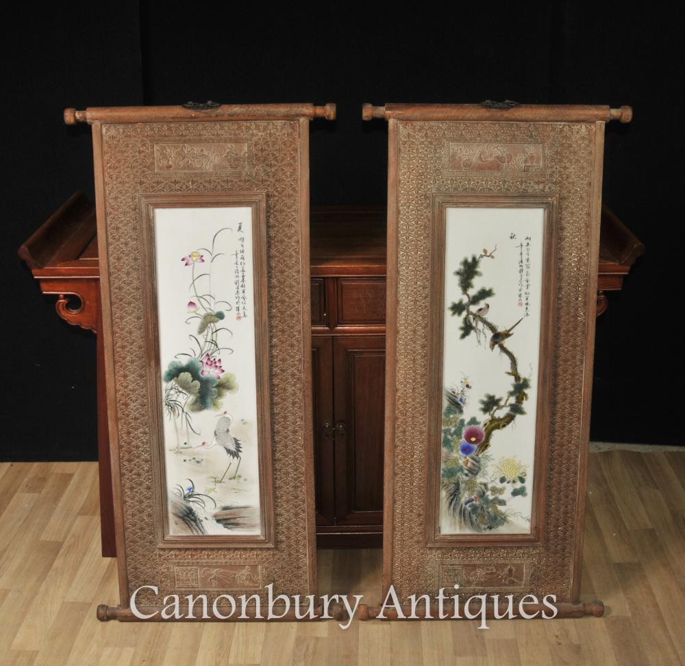 Marc de la parella xinesa de porcellana wucai plaques de fusta Pintures Grues