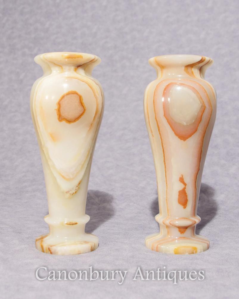 Paar Antike italienische Onyx Marmor Urnen Vasen 1930