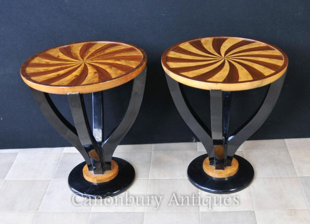 Paar Art Deco Spirale Beistelltische Cocktail Tisch Möbel