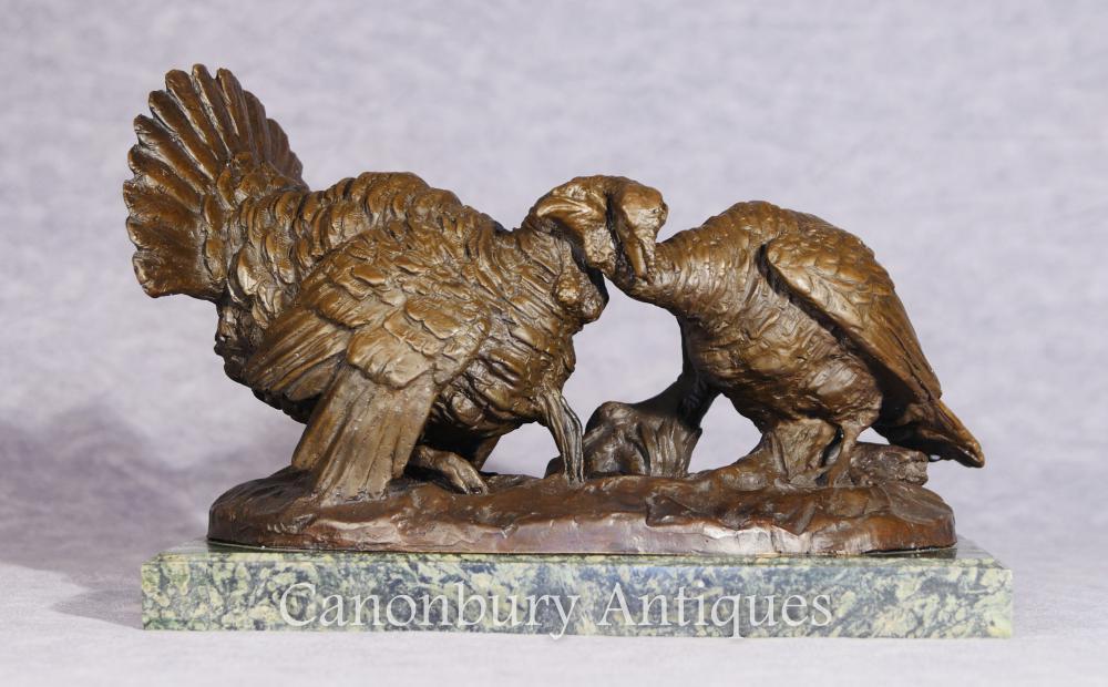 Paar Bronze-Truthahn-Danksagungs-Geflügel-Statue-Gussteil