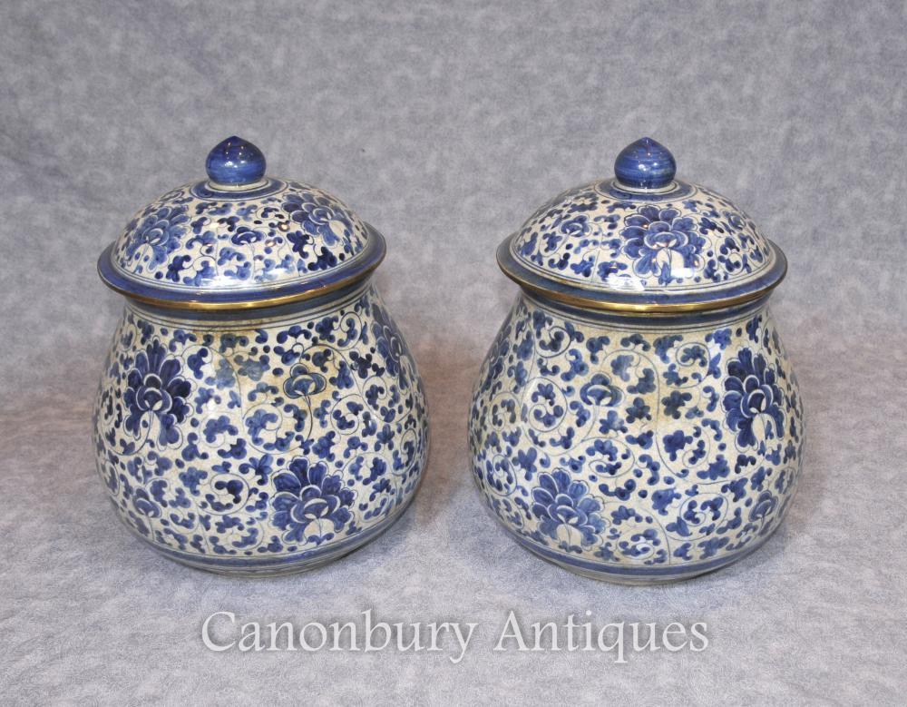 Paar Chinesisch Blau und Weiß Porzellan Deckel Urnen Kangxi Keramik