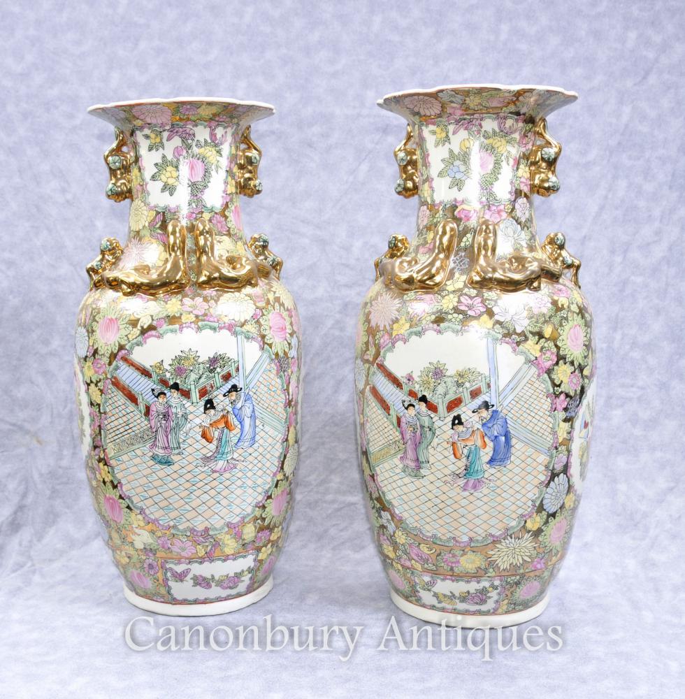 Paar Chinesisch Kantonesisch Porzellan Vasen Urnen Handgemalten Kanton