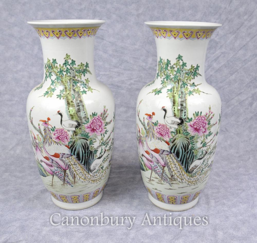 Paar Chinesische Celadon-Porzellan-Vasen Vögel des Paradieses gemalt