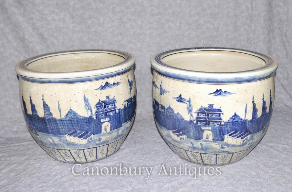 Paar Chinesische Kangxi Porzellan Blaue und weiße Pflanzer Porzellan