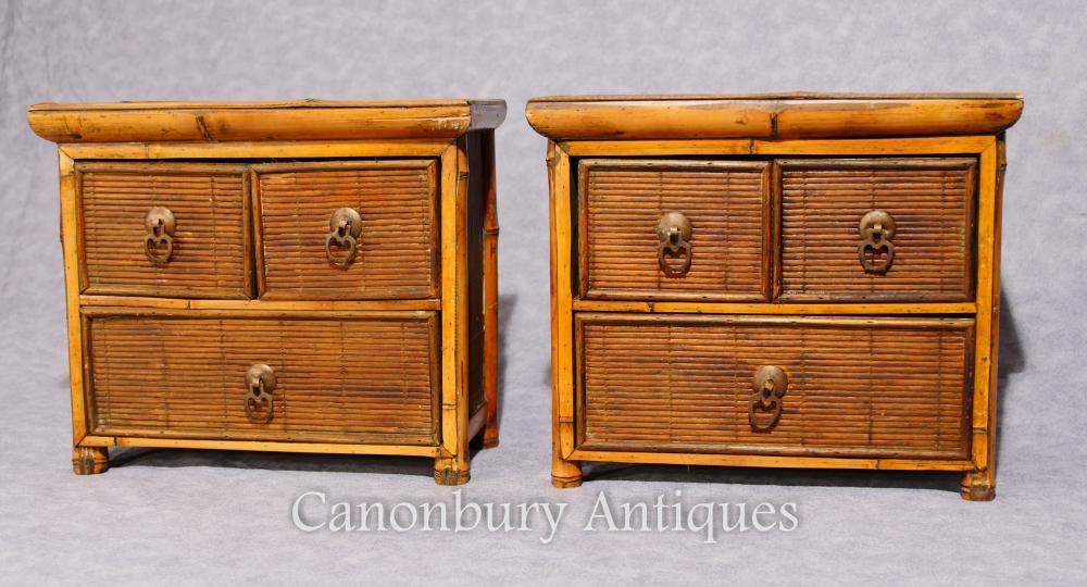Paar Chinesische antike Bambus - Kommode Mini - Reiseproben 1880