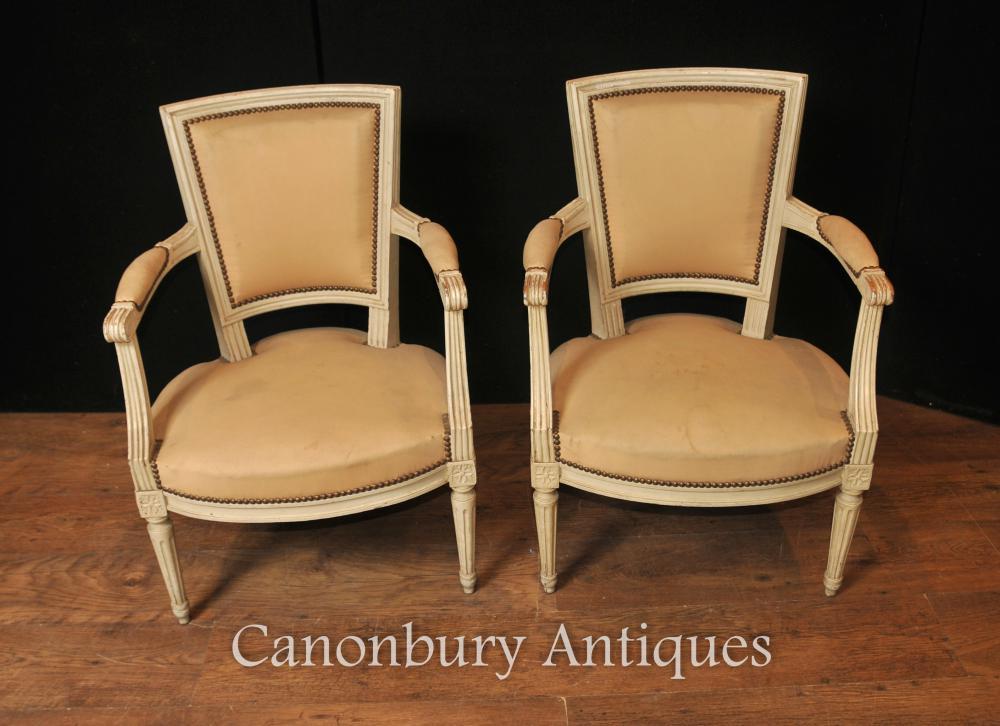 Paar Französisch Neo Klassische Armstühle Fauteuil gemalten Stuhl