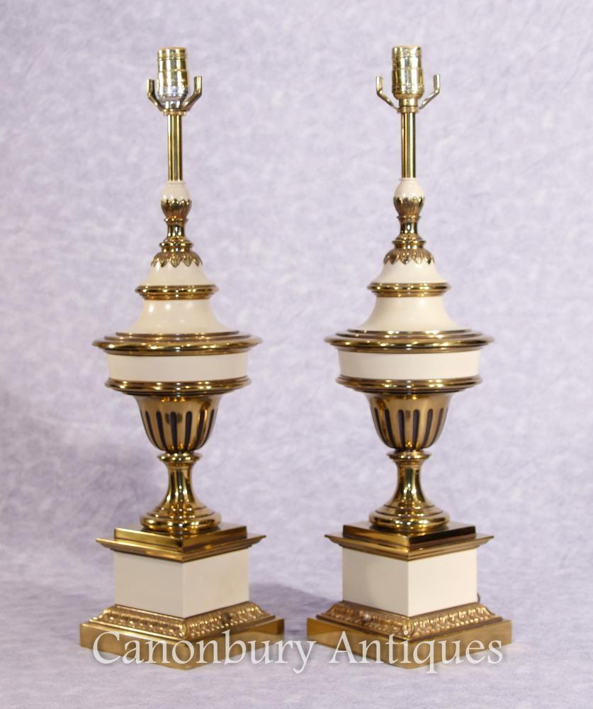 Paar Französisch Reich Ormolu Porzellan Lamp Bases Tischleuchten Stiffel