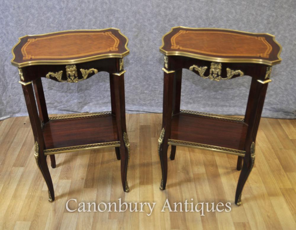 Paar Französische Empire Beistelltische Cocktail Tische Möbel
