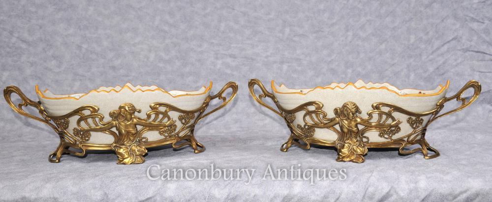 Paar Französische Kunst Nouveau Porzellan Schüsseln Blumenschalen Platten