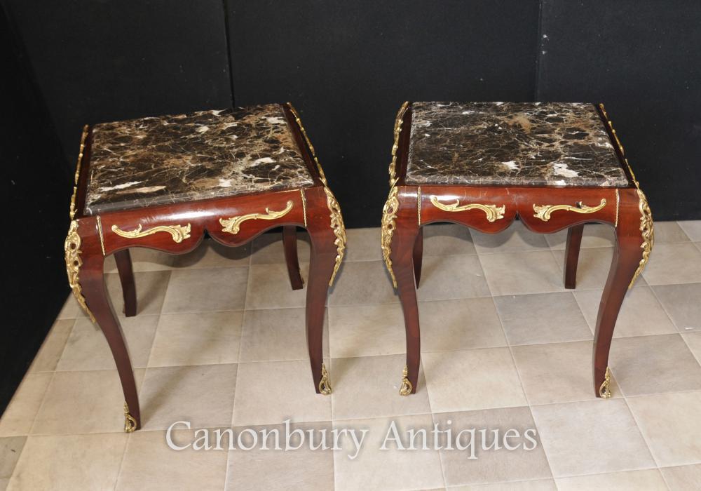 Paar Französische Reich Marmor Topp Beistelltische Cocktail Tisch