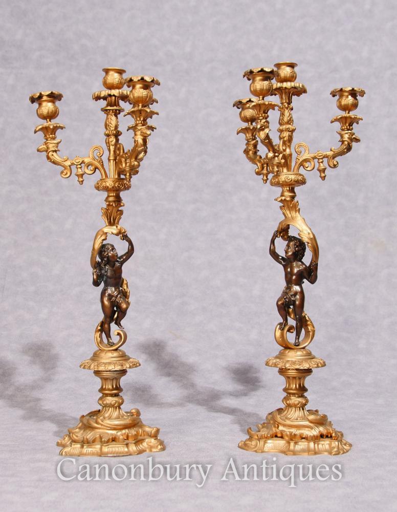 Paar Französisches Reich Antike Ormolu Kandelaber Dore Cherub Kerzen