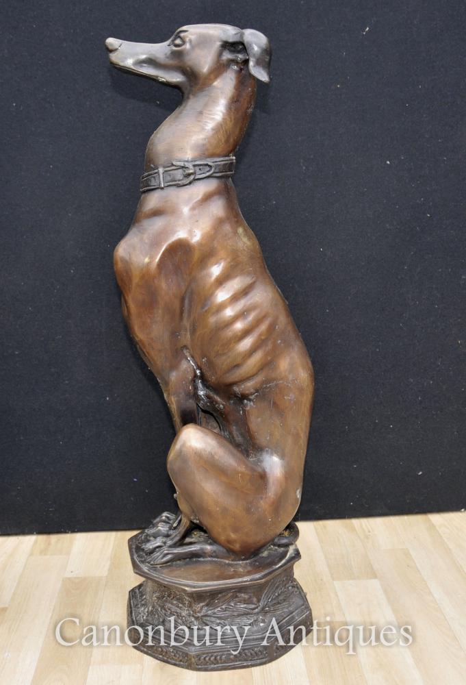Paar Große Art Déco Bronze Greyhounds Hunde Statuen Casting