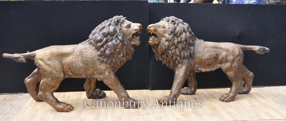 Paar Große Bronze Löwen Löwe Katze Bronze Landseer Torhüter Medici