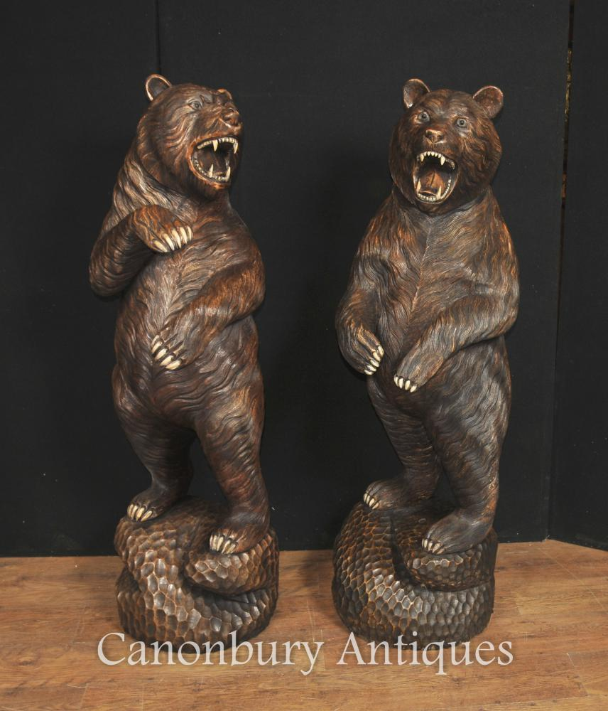 Paar Lifesize Geschnitzte Schwarzwälder Bär Statuen Deutsch