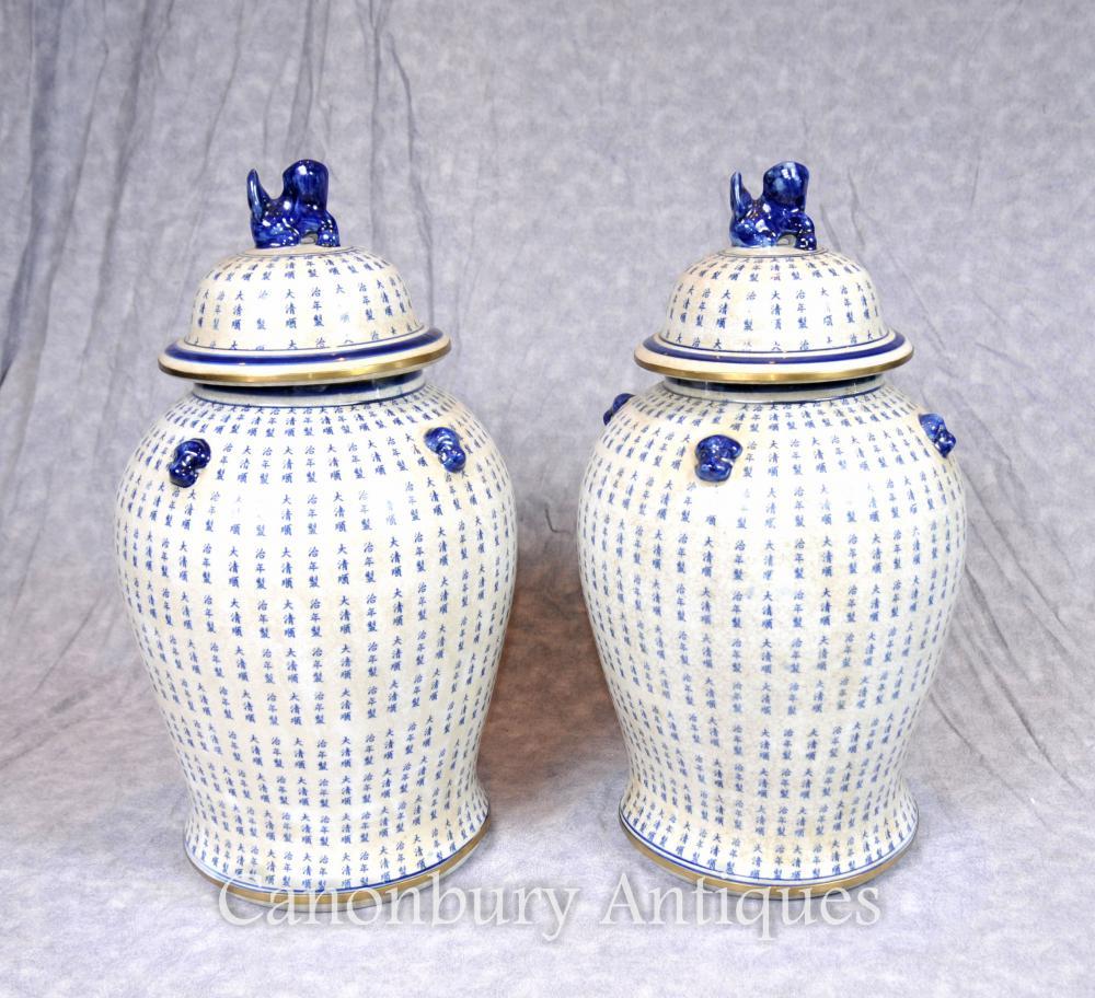 Paar Ming Blau und Weiß Porzellan Ginger Gläser Tempel Urnen Mandarinen Vasen
