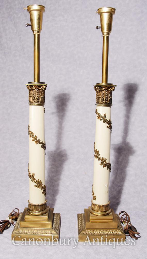 Paar-Regency-Tabellen-Lampen Korinthische Spalten-Lichter