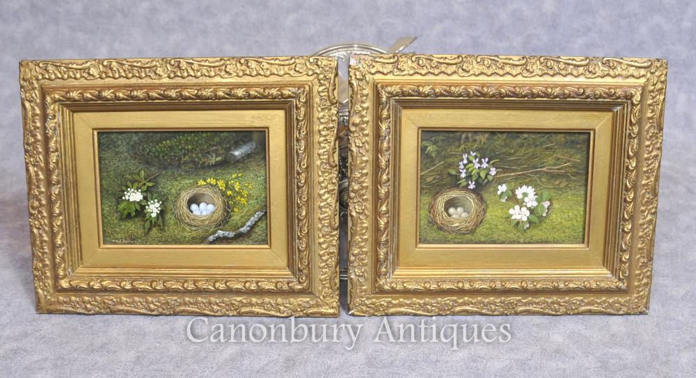 Paar Viktorianisches Osterei-Nest-Frühlings-Stillleben-Ölgemälde-Blumen