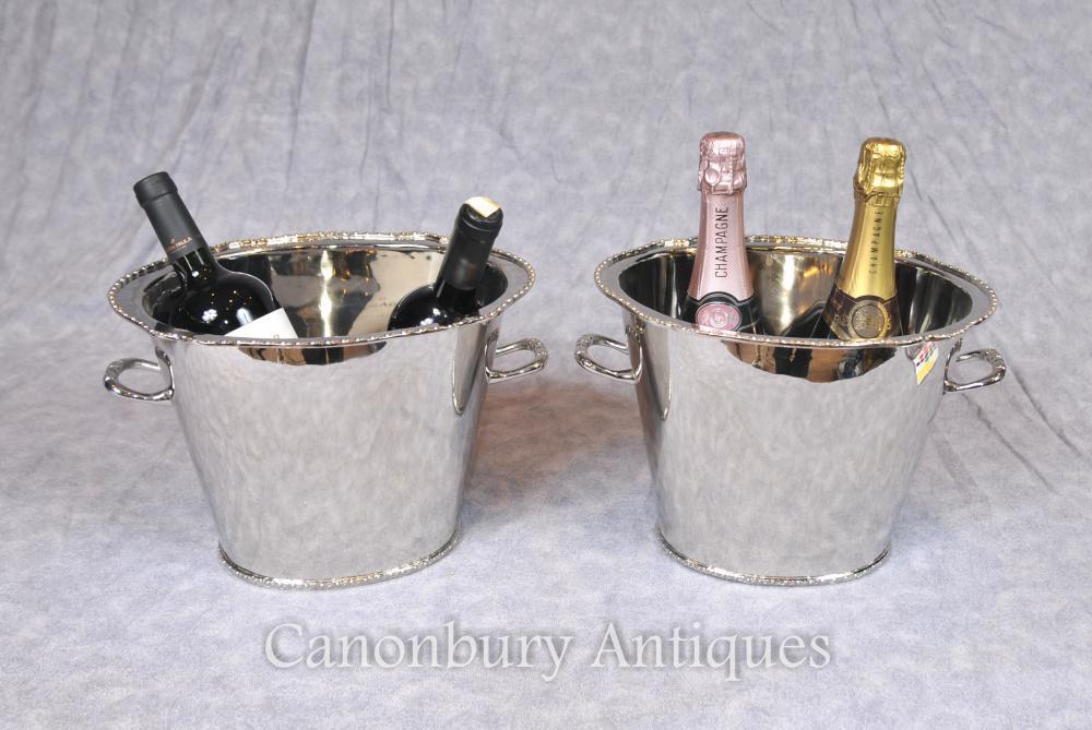 Paar viktorianischen Silber Platte Champagner Eimer Wein Urns Kühler