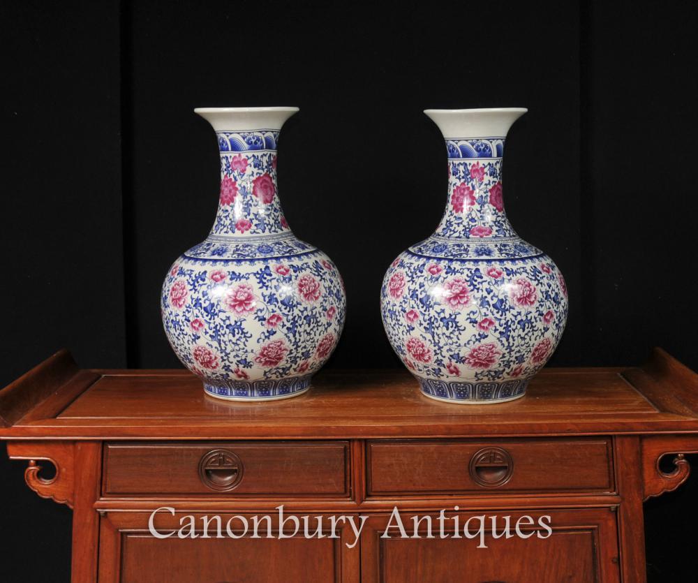 Parella xinesa família rosa de porcellana urnes Formulari Shangping Kangxi