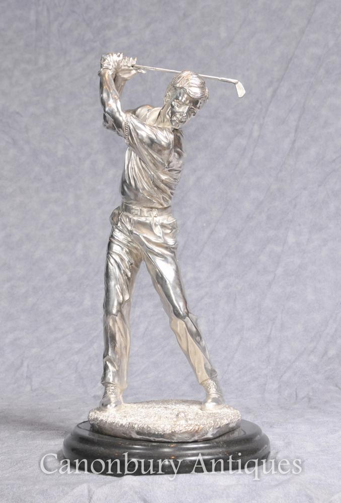 Plata platejada bronze estàtua del golfista escocès Camp de l estatueta