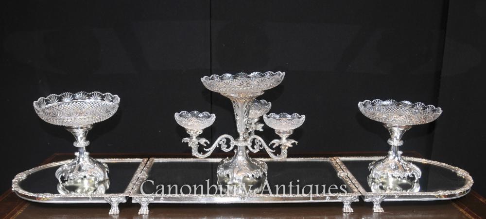 Sheffield Silber Platte Rococo Mittelstück Epergne Glasschale
