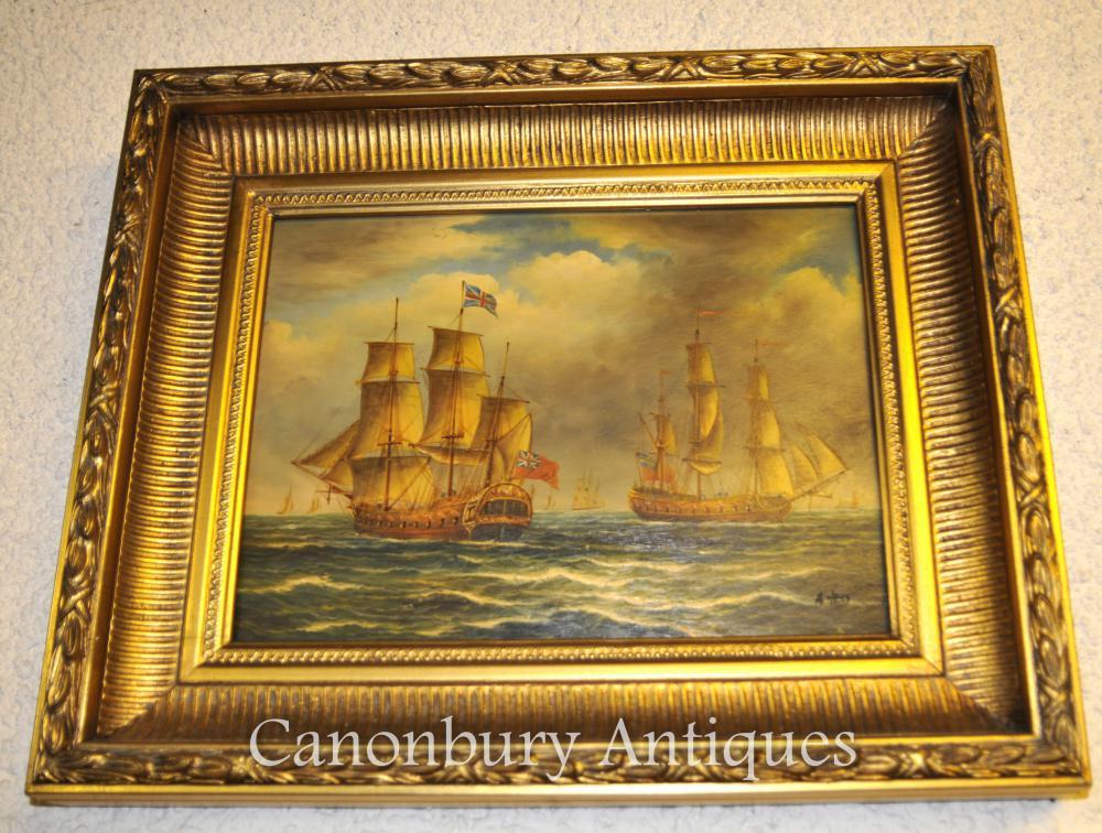 Viktorianisches Ölgemälde Englische Galeone Schlacht Trafalgar Maritime Meer Scape