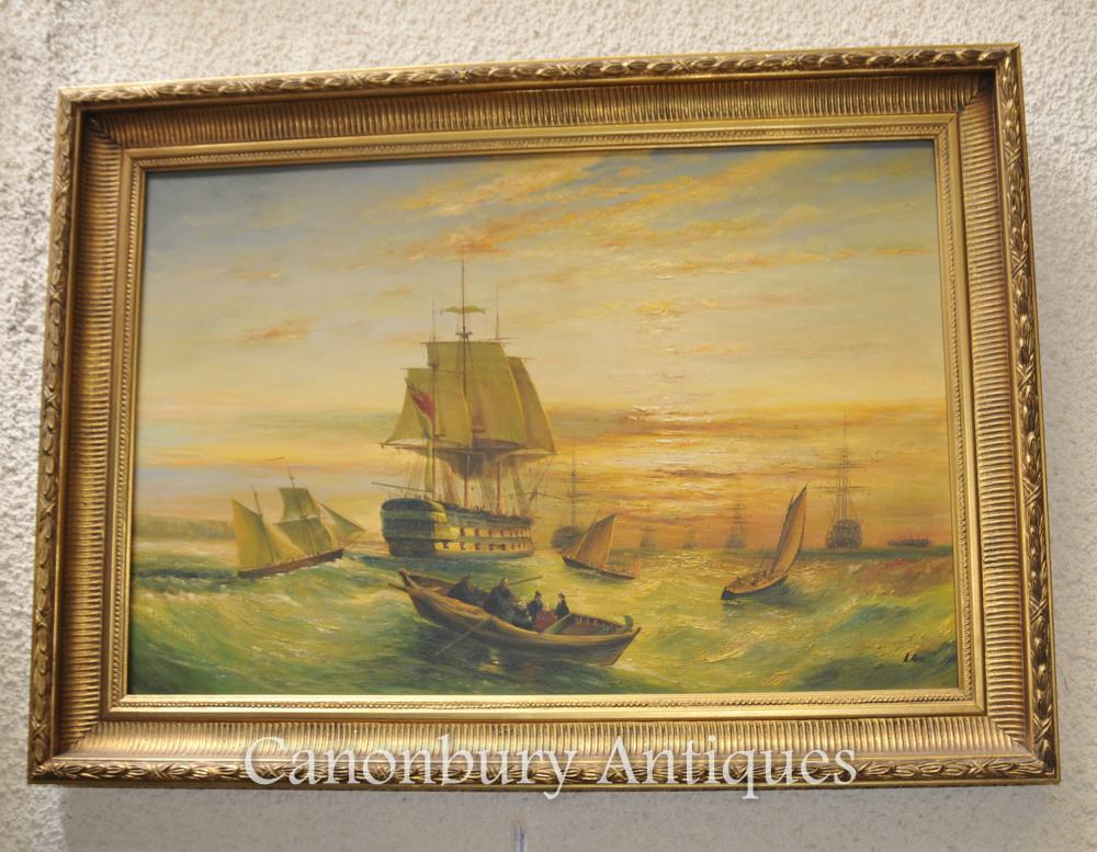 Viktorianisches Ölgemälde Englischer Kanal Seascape Maritime Schiffe Turner