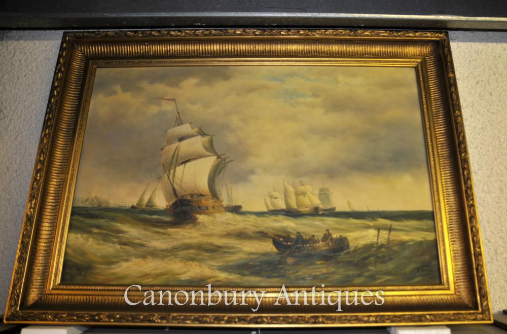 Viktorianisches Ölgemälde Nordseemeerblick Turneresque Romantische Kunst