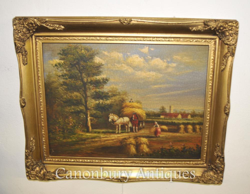 Viktorianisches Ölgemälde Pferd Heuhaufen Suffolk Manner Constable