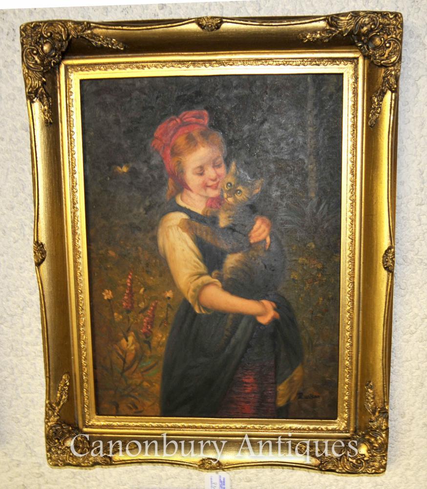 Viktorianisches Ölgemälde-Porträt-Mädchen und Kätzchen-Katze unterzeichnet