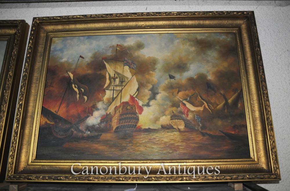 Viktorianisches Ölgemälde Schlacht von Trafalgar Maritime Sea Scape Schiffe
