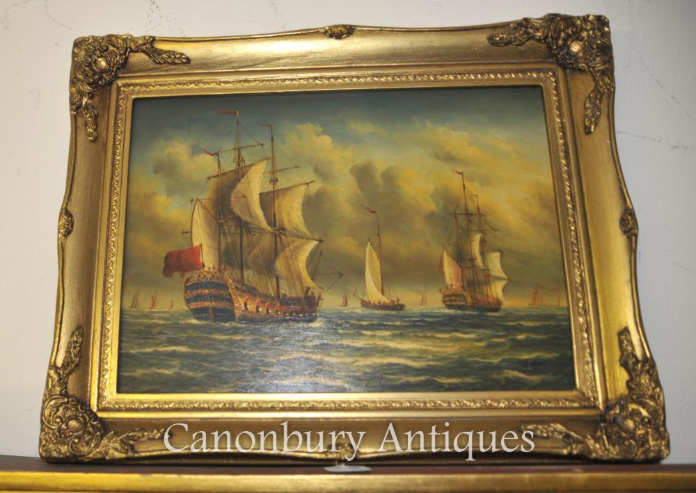 Viktorianisches Ölgemälde Seascape Galeons English Channel